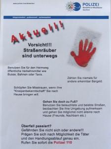 Flugblatt der Polizei Aachen